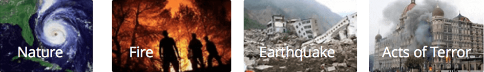Nature, Fire, Earthquake and Acts of Terror