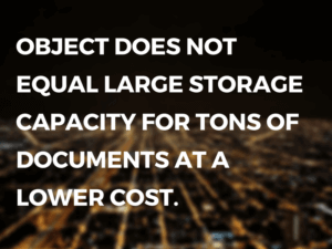 Object Does Not Equal Large Storage